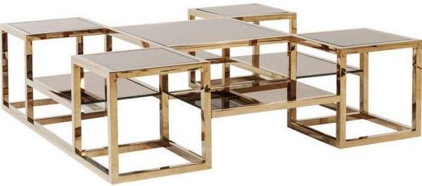 tafel Salontafel Steps Gold 120x120cm Kare Design tafels - 81702 - Lowik Meubelen