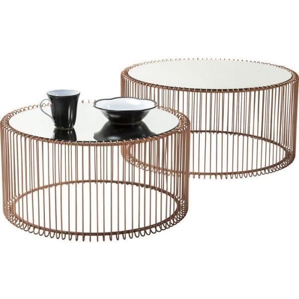 tafel Salontafel Wire Copper (2/Set) Kare Design tafels - 80198 - Lowik Meubelen