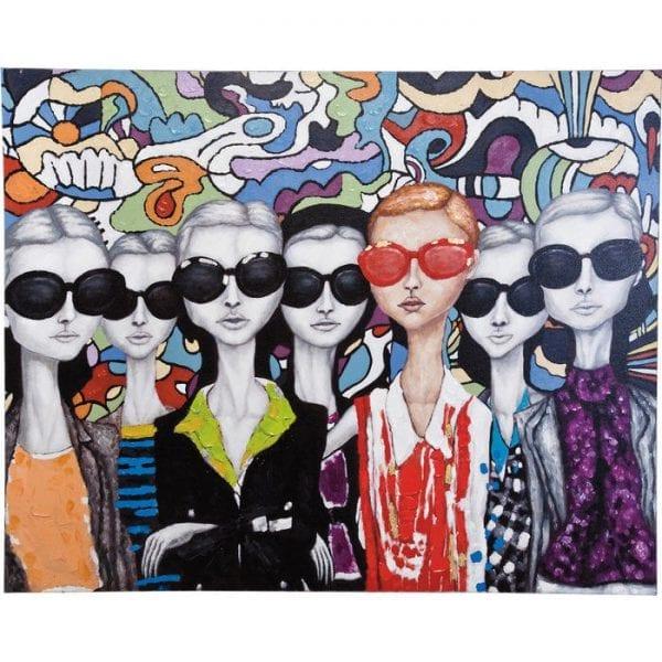 Oil Painting Sunglasses 120x150cm 33297 Een geweldig olieverfschilderij voor onze leeftijd. De mysterieuze figuren verstoppen zich achter grote zonnebrillen en geven hun emoties niet weg. Het schilderij is met de hand geschilderd en elk stuk is uniek. Kare Design