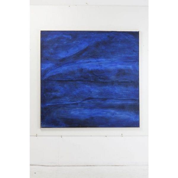 Oil Painting Abstract Deep Blue 155x155cm 51257 Afbeelding: Linnen vlas, Frame: Spar Massief hout Natuurlijk / onbehandeld, met de hand geschilderd Kare Design