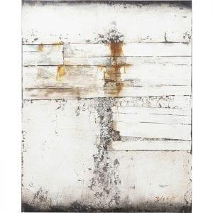 Oil Painting Abstract Grey Line Two 150x120cm 60424 Uniek en met charme. Kleurovergangen en vervaagde kleuren, maar ook golvende randen en schilferige gebieden geven het olieverfschilderij zijn moderne vintage charme. Met een formaat van 150x120 vult het beeld ook grote muren. Elk is uniek. Kare Design