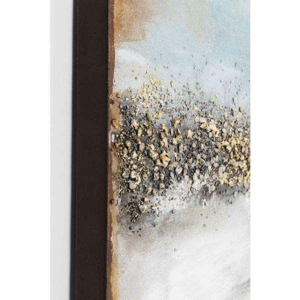 Oil Painting Abstract Horizon 120x90cm 61660 foto: linnen vlas, lijst: spar vast hout natuurlijk / onbehandeld, handgeschilderd Kare Design