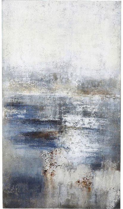 Oil Painting Abstract Into The Night 210x120cm 61662 foto: linnen vlas, lijst: spar vast hout natuurlijk / onbehandeld, handgeschilderd Kare Design