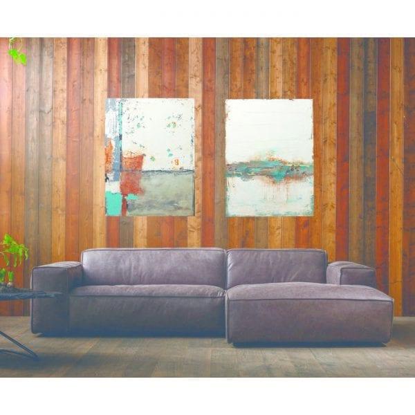Oil Painting Abstract Stroke One 120x90cm 60429 Uniek en charmant. Kleurovergangen en vervaagde kleuren, evenals scheuren en afgeschilferd uit gebieden van de lak geven dit olieverfschilderij een moderne vintage charme. Met afmetingen van 150x90 vult het beeld idealiter smalle muren. Elke foto is uniek. Kare Design