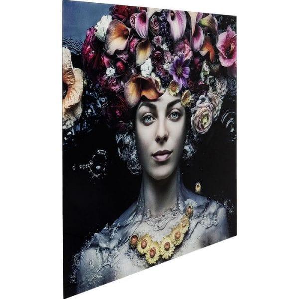 Schilderij Glas Flower Art Lady 120x120cm 65022 Afbeelding: Polypropyleen, voorzijde: 4 mm glas Gehard veiligheidsglas Gelamineerd, voor wandbevestiging Horizontaal Kare Design
