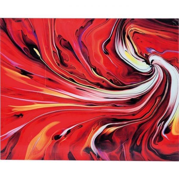 Schilderij Glas Chaos Fire 150x120cm 35591 Passionately dynamic - Een foto in expressieve kleuren, waardoor een rel van gepassioneerd rood ontstaat. Chaos Fire doet zijn naam echt eer aan, met heldere kleuren die een levendige en dynamische uitstraling creëren in combinatie met organische vormen en atmosferische overgangen. De kleuren zijn briljanter gemaakt door het feit dat ze worden toegepast op gehard glas. De foto zal de ruimte met zijn expressieve kracht verbeteren en is niets minder dan een vuurwerk met krachtige kleuren, artistiek gearrangeerd! Ook beschikbaar in andere versies. Kare Design