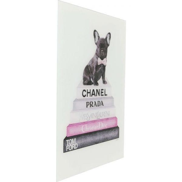 Schilderij Glas Fashion Dog 80x60cm 63998 Afbeelding: Polypropyleen, Voorzijde: glas Gehard veiligheidsglas Gelamineerd, voor bevestiging aan de muur Verticaal Kare Design