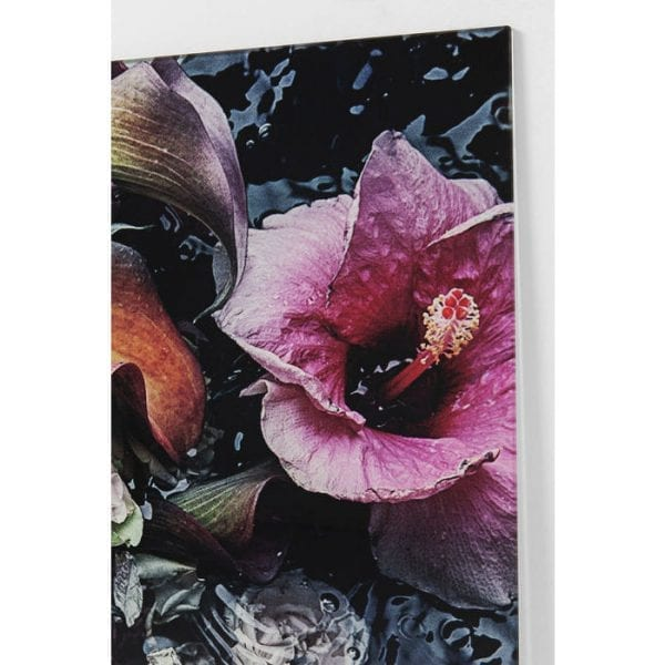 Schilderij Glas Flower Art Lady 80x80cm 51438 Picture: Polypropylene, Front: 4 mm Glass Toughened safety glass Laminated, For wall fixing Horizontal Kare Design
