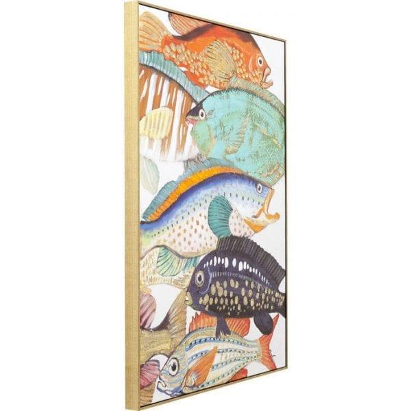 Schilderij Touched Fish Meeting Two 100x70cm 60448 Onderwaterfoto. Deze kleurrijke school vissen kan nauwelijks worden overtroffen in veelkleurige pracht. De vele details zijn gedeeltelijk met de hand geschilderd en maken elke foto uniek. Een echte blikvanger ook buiten het water. Ook beschikbaar in andere versies. Kare Design