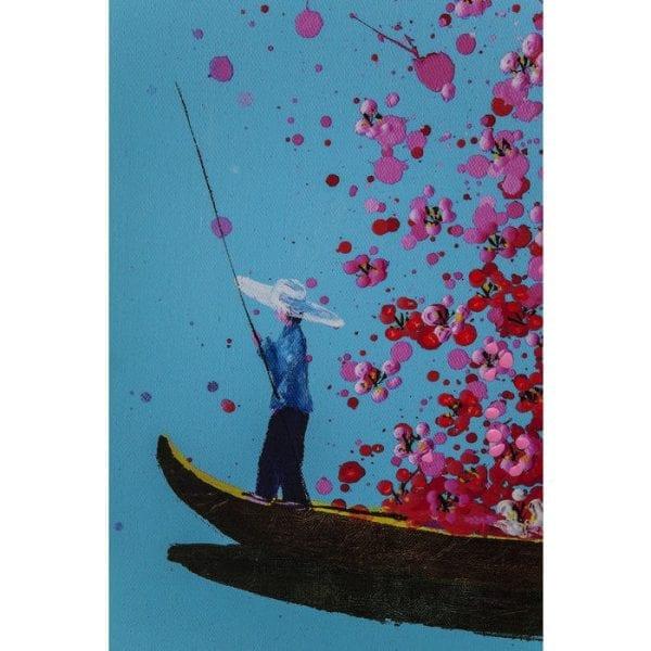Foto aangeraakt Bloemenboot Blauw Roze 160x120cm 37104 Een ware bloemenzee Geïnspireerd door de Aziatische modecultuur, vult deze foto het huis met kleur en joie de vivre. De bloemenzee overweldigt de toeschouwer met atmosferische contrasten en ontelbare details. Een vloed van bloesems opent zich over de boot en hun delicate geur is bijna waarneembaar. Als symbool van de spontane gevoelens ervaren door degenen die net verliefd zijn geworden, communiceert het ontwerp energie en de moed om emoties te uiten, terwijl het de indruk wekt dat alles mogelijk is. Motivatie kan echt mooi zijn. Kare Design