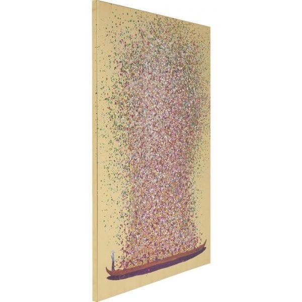 Schilderij Touched Flower Boat Goud Roze 100x80cm 65740 foto: linnen vlas, lijst: sparren massief hout natuurlijk / onbehandeld Kare Design