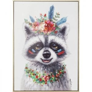 Schilderij Touched Flowers Raccoon 72x52cm 61553 ACCESSORY WITHOUT TEXT Kare Design