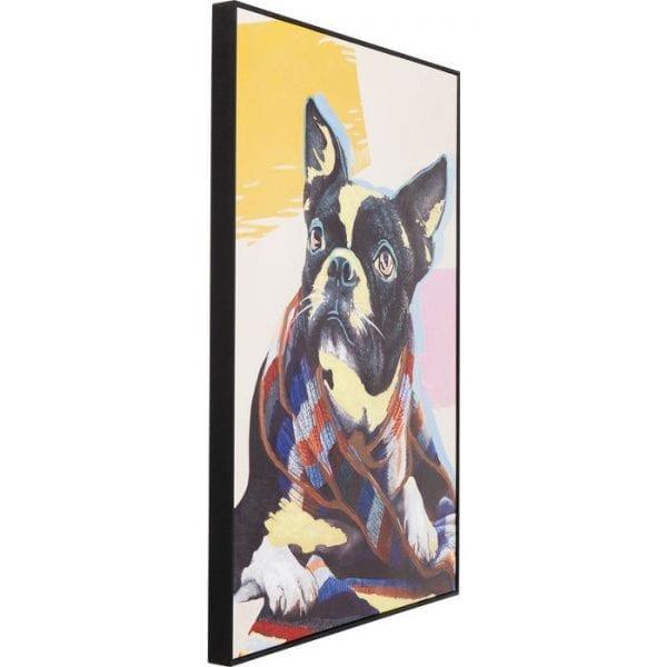 Schilderij Touched Lazy Toto 102x72cm 61548 foto: linnen vlas acryl kleur, lijst: polyurethaan, dennenhout massief natuurlijk / onbehandeld, deels met de hand beschilderd Kare Design