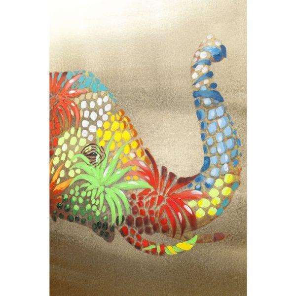 Foto aangeraakte bloem Elefant 90x120cm 60441 Mooie foto met een wow-effect. De levendige olifant onderscheidt zich tegen de gouden achtergrond. Dit kleurrijke dier betovert met dromerige en speelse momenten. De details zijn gedeeltelijk met de hand geschilderd en maken elke foto uniek. Kare Design