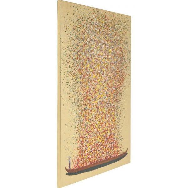 Schilderij Touched Flower Boat Gold Red 100x80cm 65736 foto: linnen vlas, lijst: sparren massief hout natuurlijk / onbehandeld Kare Design