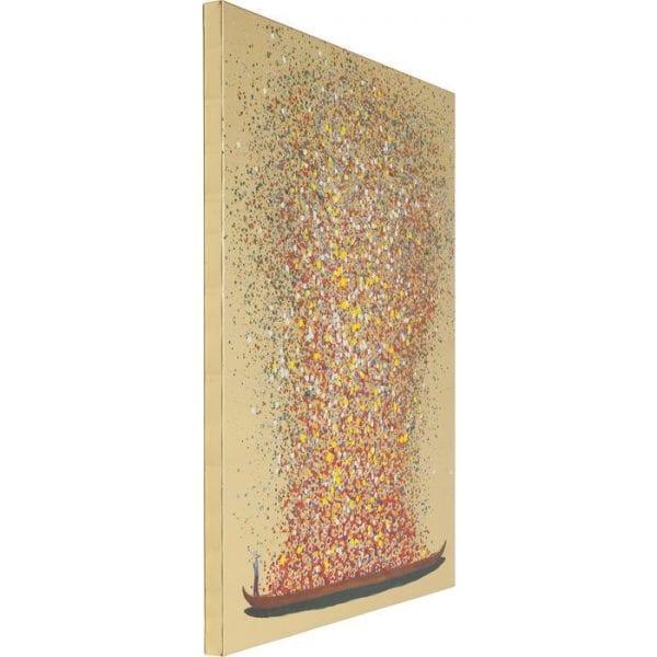 Schilderij Touched Flower Boat Gold Red 160x120cm 65735 foto: linnen vlas, lijst: sparren massief hout natuurlijk / onbehandeld Kare Design