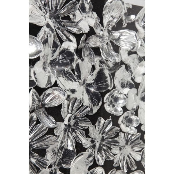 Deco Frame Silver Flower 100x100cm 61480 : polymethylmethacrylaat,: papier,: linnen vlas,: MDF (medium density fibreboard) gelakt, voor wandmontage horizontaal en verticaal Kare Design