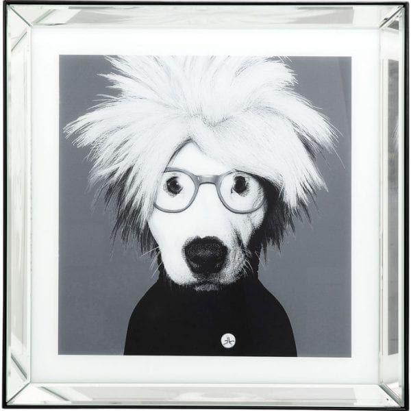 Kare Design Spiegel Artist Dog 60x60cm wanddecoratie 51878 - Lowik Meubelen