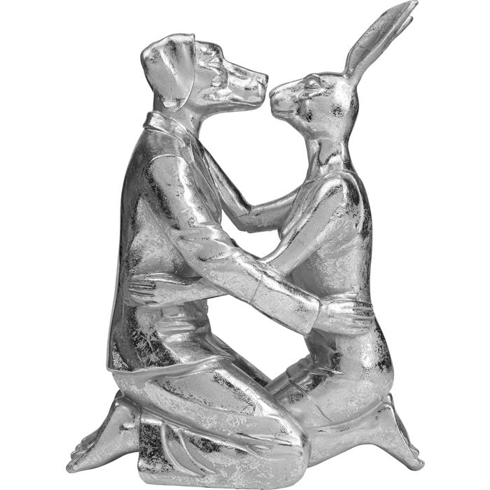 Deco Object Kissing Rabbit and Dog Silver
