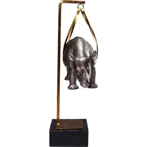 Deco Object Hanging Rhino 61626 korpus: polyresin, lijst: staal gelakt Kare Design