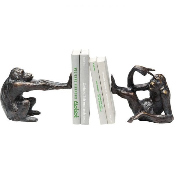 Bookend Monkey (2/Set) 63924 Object: Polyresin, Hand-crafted, Object: 17 x 20 x 10 cm Small, 16 x 22,50 x 9,80 cm Big Kare Design
