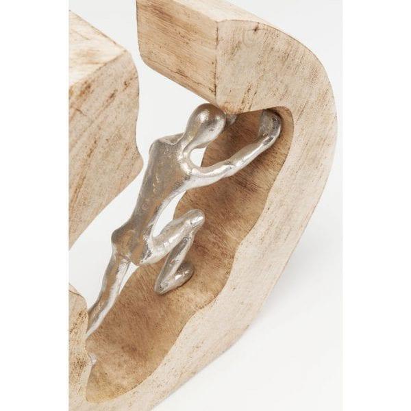 Deco Object Man In Log 61491 mango massief hout natuurlijk / onbehandeld, aluminium vernikkeld, handgemaakt, ieder exemplaar uniek Kare Design