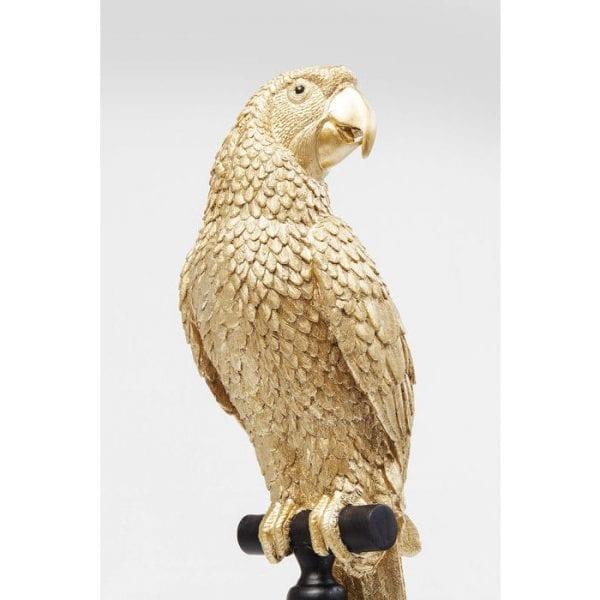 Deco beeldje papegaai goud 61630 polyresin gelakt Kare Design