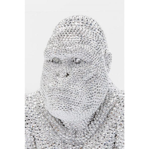 Deco Object Shiny Gorilla Silver 80cm 61559 object: polyresin Kare Design