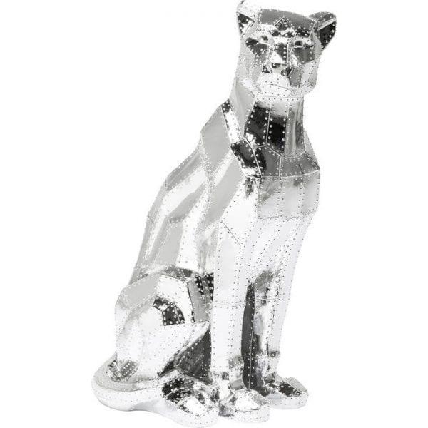 Deco Object Sitting Cat Rivet Chrome 38500 polyresin gelakt Kare Design