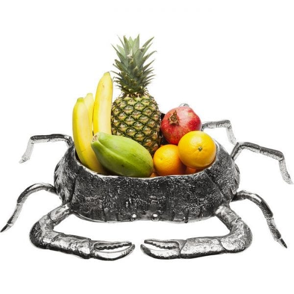 Schaal Crab 61344 A biological miracle: this decorative crab is over half a metre wide and is entirely dedicated to service. It functions as a fruit bowl, but also likes to hold packaged sweets or present your most beautiful pieces of jewellery on the bedroom chest of drawers. Not food-safe. Kare Design