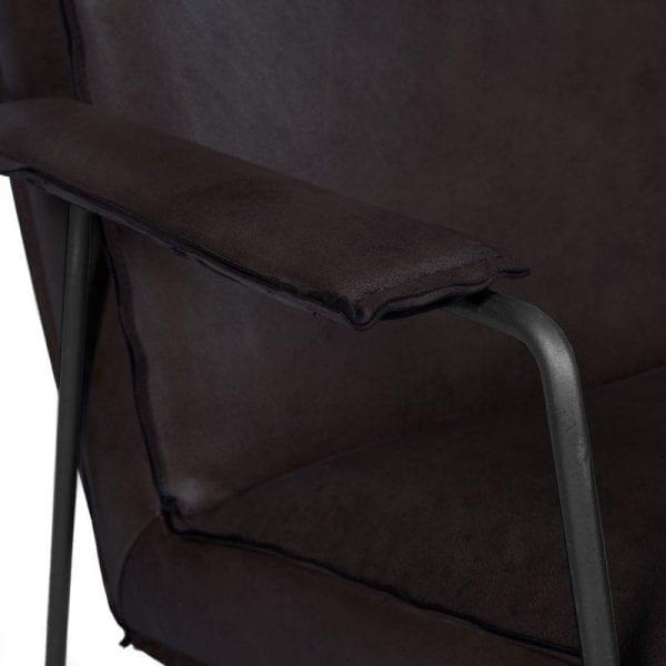 Armstoel Draht, industrieel design uitgevoerd in buffelleder zwart - Löwik