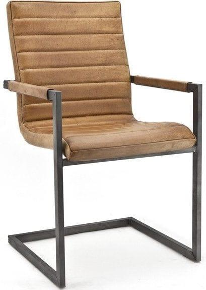 Wave armstoel in leder Buffalo cognac - industrieel vintage design