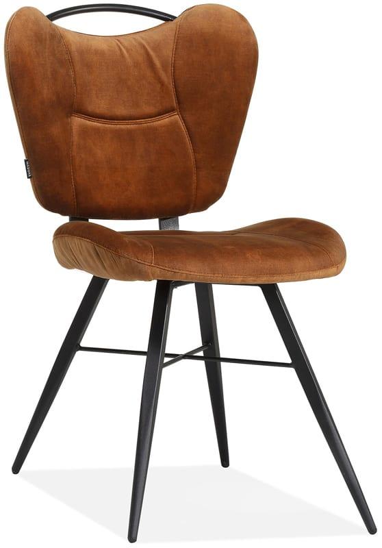 Mantra stoel, retro stijl eetstoel in stof Goldy cognac
