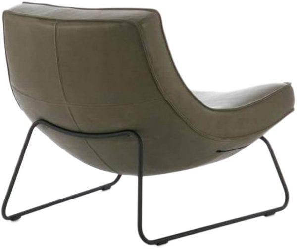 Uwa fauteuil op zwart sledeframe - in leder Lux groen