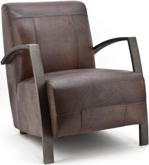 fauteuil como, industrieel design, uitgevoerd in handgeverfd leder brown washed met metalen onderstel