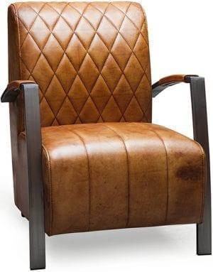 fauteuil diamond met ruit stikselin buffel leder industrieel design