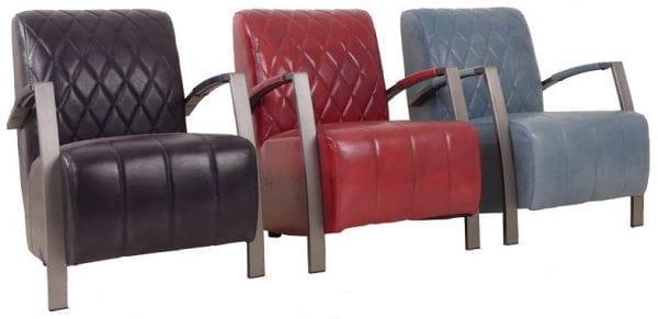 Diamond fauteuil in handwashed buffelleder in kleur zwart, rood en petrol glossy