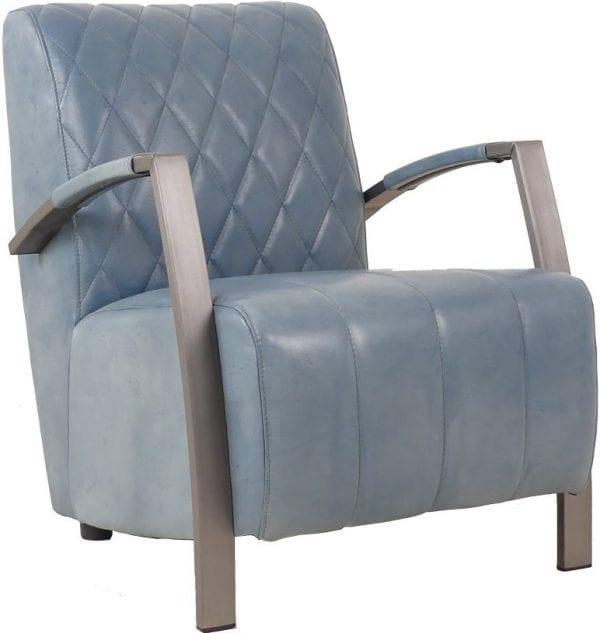 Diamond fauteuil in handwashed buffelleder in kleur petrol glossy