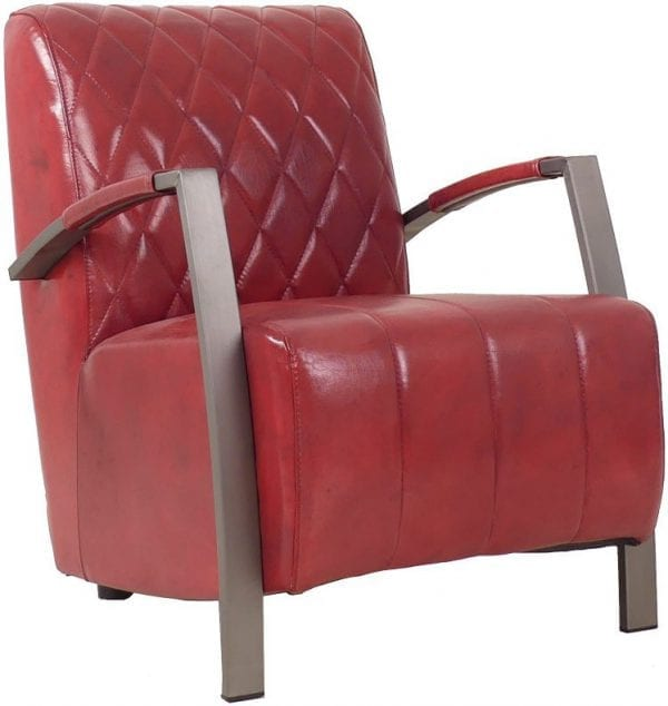Diamond fauteuil in handwashed buffelleder in kleur red glossy