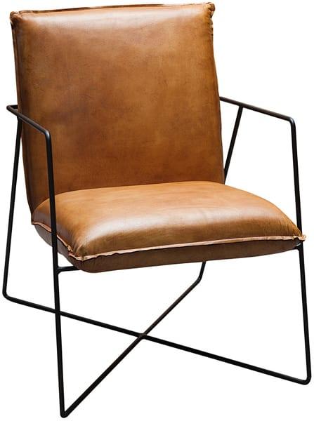 fauteuil met een modern design en een vintage karakter, leder met metaal - Early fauteuil