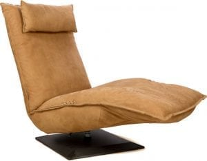 Fauteuil Indi, comfortabele relaxfauteuil in leder Kenia taupe