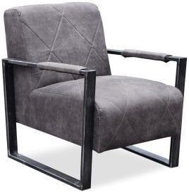 Fauteuil Krelis, industrieel design. In stof Cowboy met vintage metalen frame