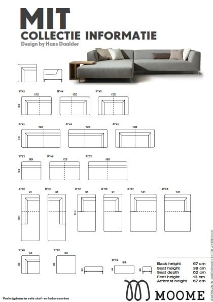 Mit bank met lonchair van Moome - Belgische design meubels met karakter! Afmetingen