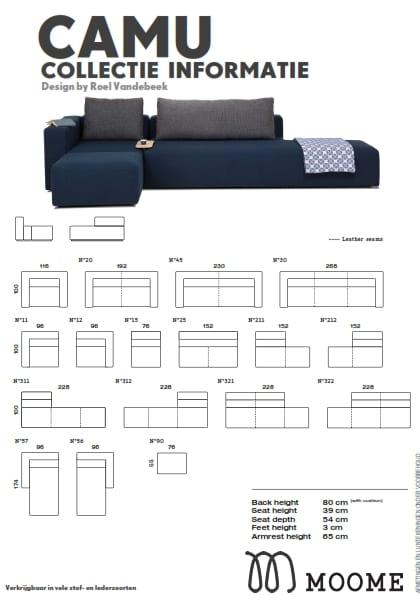 Camu elementen bank Moome - Design by Roel Vandebeek - afmetingen