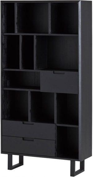 Leonardo boekenkast met 3 lades en open vakken uit de Nijwie collectie - Acaciahout - Löwik Wonen & Slapen
