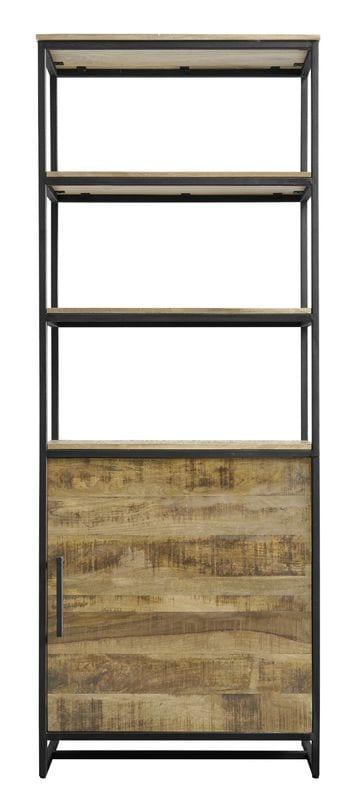 Boekenkast Akola Uitgevoerd in naturel Mangohout in combinatie met zwart metalen gepoedercoat frame en handgrepen, met 1 deur en 3 open vakken. Kasten Profijt Meubel Lowik Meubelen