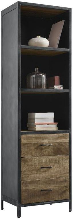 Boekenkast Calde Uitgevoerd in mangohout in de kleur lichtbruin en old grey metal frame, met 3 laden en 3 open vakken. Kasten Profijt Meubel Lowik Meubelen meubelboulevard