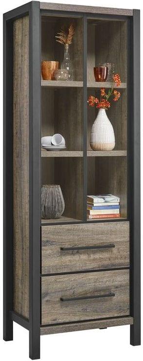 Boekenkast Cavinti Uitgevoerd in de kleur claywood met zwart metalen frame, 2 laden en 6 open vakken.