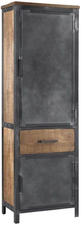 Boekenkast Indusy Uitgevoerd in mangohout in de kleur lichtbruin en old grey metal frame, met 2 deuren en 1 lade. Kasten Profijt Meubel Lowik Meubelen woonboulevard