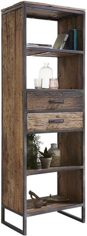 Boekenkast Kempton Uitgevoerd in Canyon wood met 2 laden en 4 open vakken, met zwart metalen frame. landingspaginas Profijt Meubel Lowik Meubelen Vriezenveen